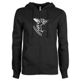 ENZA Ladies Black Fleece Full Zip Hoodie-Hornet