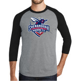 Grey/Black Tri Blend Baseball Raglan-Official Logo