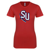 Next Level Ladies SoftStyle Junior Fitted Red Tee-SU