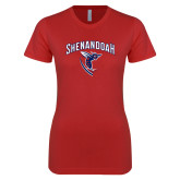 Next Level Ladies SoftStyle Junior Fitted Red Tee-Shenandoah Hornet