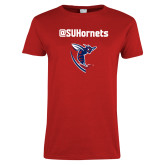 Ladies Red T Shirt-SU Hornets