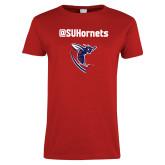 Ladies Red T Shirt-SU Hornets