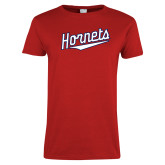Ladies Red T Shirt-SU Hornets Script