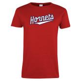 Ladies Red T Shirt-SU Hornets Script