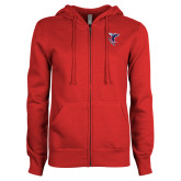 ENZA Ladies Red Fleece Full Zip Hoodie-Hornet