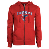 ENZA Ladies Red Fleece Full Zip Hoodie-Shenandoah Hornet