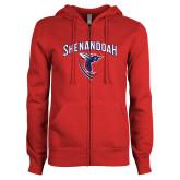 ENZA Ladies Red Fleece Full Zip Hoodie-Shenandoah Hornet