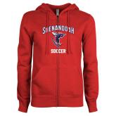 ENZA Ladies Red Fleece Full Zip Hoodie-Soccer