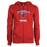 ENZA Ladies Red Fleece Full Zip Hoodie-Football