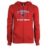 ENZA Ladies Red Fleece Full Zip Hoodie-Athletic Training
