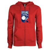 ENZA Ladies Red Fleece Full Zip Hoodie-Ranked first in the nation