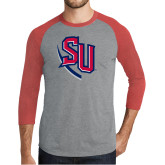 Grey/Red Heather Tri Blend Baseball Raglan-SU