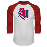 White/Red Raglan Baseball T-Shirt-SU