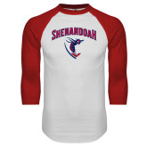 White/Red Raglan Baseball T-Shirt-Shenandoah Hornet