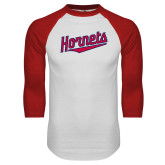 White/Red Raglan Baseball T-Shirt-SU Hornets Script