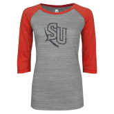 ENZA Ladies Athletic Heather/Red Vintage Triblend Baseball Tee-SU Graphite Soft Glitter