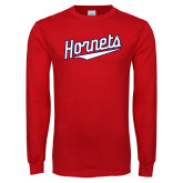 Red Long Sleeve T Shirt-SU Hornets Script