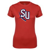 Ladies Syntrel Performance Red Tee-SU