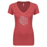 Next Level Ladies Vintage Red Tri Blend V-Neck Tee-SU White Soft Glitter