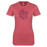Next Level Ladies SoftStyle Junior Fitted Pink Tee-SU Pink Glitter