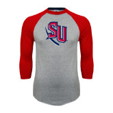 Grey/Red Raglan Baseball T Shirt-SU