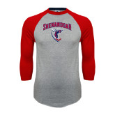 Grey/Red Raglan Baseball T Shirt-Shenandoah Hornet