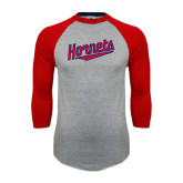 Grey/Red Raglan Baseball T Shirt-SU Hornets Script