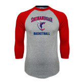 Grey/Red Raglan Baseball T Shirt-Basketball