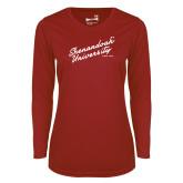 Ladies Syntrel Performance Cardinal Longsleeve Shirt-Script Established Date