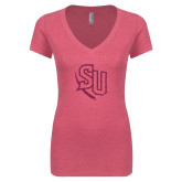 Next Level Ladies Vintage Pink Tri Blend V-Neck Tee-SU Hot Pink Glitter