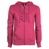 ENZA Ladies Fuchsia Fleece Full Zip Hoodie-SU Hot Pink Glitter