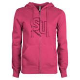 ENZA Ladies Fuchsia Fleece Full Zip Hoodie-SU Hot Pink Glitter