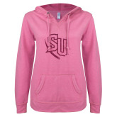 ENZA Ladies Hot Pink V Notch Raw Edge Fleece Hoodie-SU Hot Pink Glitter