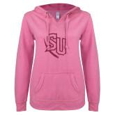 ENZA Ladies Hot Pink V Notch Raw Edge Fleece Hoodie-SU Hot Pink Glitter