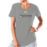 Ladies Under Armour Grey Charged Cotton Tee-Primary University Mark