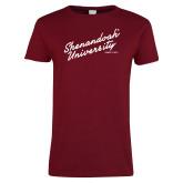 Ladies Cardinal T Shirt-Script Established Date