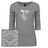 Ladies Grey Heather Tri Blend Lace 3/4 Sleeve Tee-Hornet