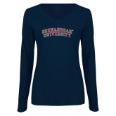 Ladies Navy Long Sleeve V Neck Tee-Arched