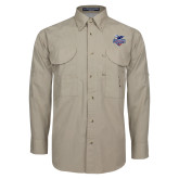 Khaki Long Sleeve Performance Fishing Shirt-Official Logo