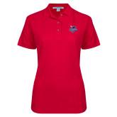 Ladies Easycare Red Pique Polo-Official Logo