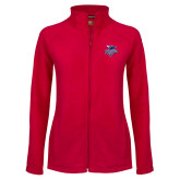 Ladies Fleece Full Zip Red Jacket-Official Logo