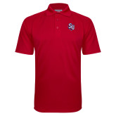 Red Textured Saddle Shoulder Polo-SU