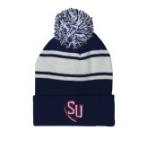 Navy/White Two Tone Knit Pom Beanie with Cuff-SU