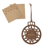 Wood Holiday Ball Ornament-Primary University Mark Engraved