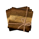 Acacia Wood Coaster Set-Primary University Mark Engraved