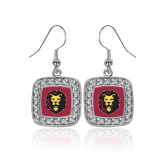 Crystal Studded Square Pendant Silver Dangle Earrings-Larry Lion