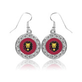 Crystal Studded Round Pendant Silver Dangle Earrings-Larry Lion