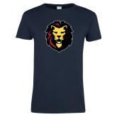 Ladies Navy T Shirt-Larry Lion