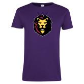 Ladies Purple T Shirt-Larry Lion