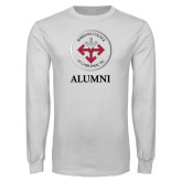 White Long Sleeve T Shirt-Alumni with Seal